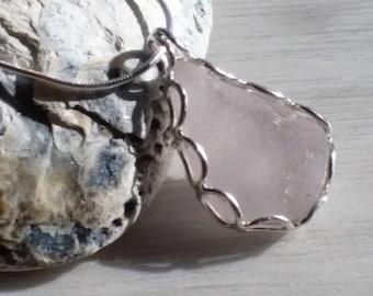 Sea Glass Pendant, Handmade Sterling Silver Case, Genuine Sea Glass, Sterling Silver Necklace, Uk Seller.