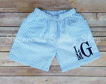 Baby Boy Monogrammed Shorts - Blue Shorts, Seersucker Shorts - Baby Boy Outfit - Baby Shower Gift - Blue Seersucker Shorts
