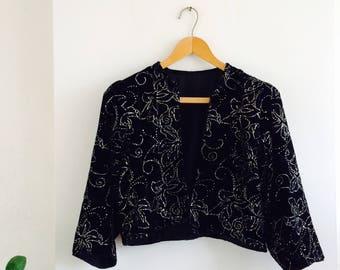 Vintage velvet blazer | velvet jacket| gala jasje| glitter jacket| 80s| fluwelen feestjasje| party jacket