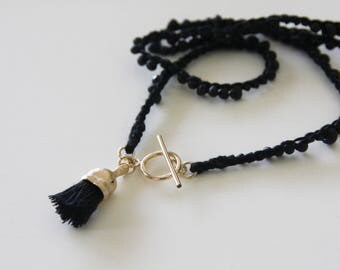 Gold & Black necklace, Statement necklace, Knitted beads necklace, Black necklace,Handmade Necklace,Spinel stone necklace,contemporary look
