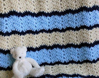 crochet little boy blanket of blue beige navy blue, new baby soft and cuddly afghan, gifts to new mom, 28 x 32 stroller/car seat, free ship