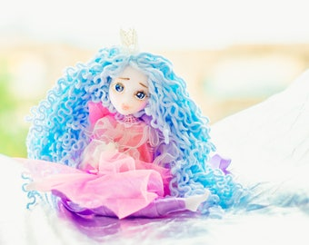Wedding doll Fairy tale wedding miniature fairy gift for daughter handmade toys clay doll Christmas in july travel toy play with kids
