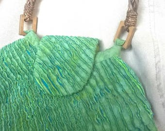 HANDMADE Slashed Green handbag small with Wicker handle fully lined