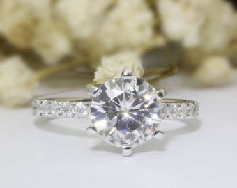6 Prongs 2.5ct Round Color F Moissanite Pave Accents 14k White Gold Wedding Engagament Ring (CFR0828-MS2.5CT)