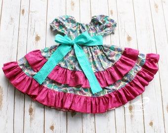 4t Girls dress Valentine's dress Easter dress Ruffle dress Twirly dress Spring dress Hearts dress  Birthday dress  Little Chickadee Boutique