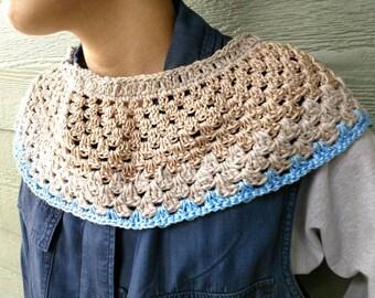 Scarf beige blue Crochet neck warmer Fall Winter Accessories
