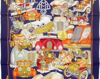 "HERMES SCARF Silk ""Automobile"" by Joachim Metz 90cm Carre 100% Auth"