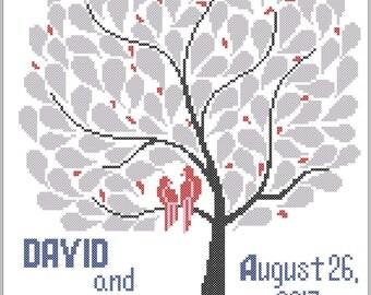 Personalized Wedding cross stitch pattern Mr and Mrs Happy Keepsake Instant download Wedding Announcement Modern Wedding tree  Gift #310