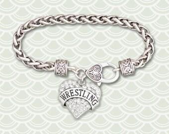 Wrestling Rhinestone Heart Charm Bracelet