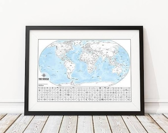 Color-Me World Map Outline Poster - Color In Your Travels - Map Poster Print Includes Flags, State Outlines and More