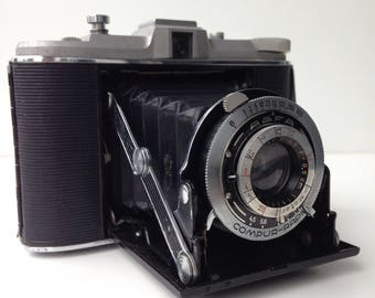 Agfa Isolette comur rapid old folding camera with brown leather case