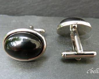 Cufflinks black agate Ø 13 x 18 mm