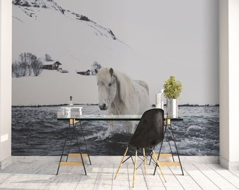 Horse wall art, Iceland large mural, Wall decor, Peel And Stick Wallpaper, Large Wall Art, Gray, Icelandic horse, Office decor, White. SV043