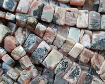 "Natural Rhodochrosite Rectangular Beads, 12~22x8~15x5~8mm, 15.5~16"" Strand"