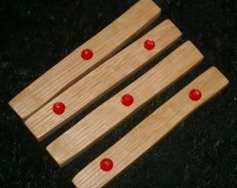 Geomancy Druid Sticks - Red Dot - Handmade