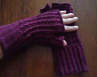 Fingerless gloves made crochet with a pattern like 100% Merino Wool
