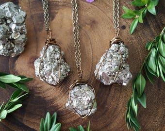 Pyrite necklace, pyrite crystal necklace, pyrite crystal, fools gold