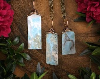 Laminar necklace, larimar ,  blue crystal necklace, larimar jewelry