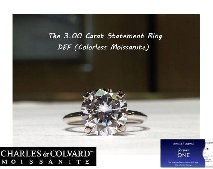 Featured listing image: 3.00 Carat Moissanite Forever One Solitaire Engagement Ring in 14K Gold (with Charles & Colvard authenticity card)