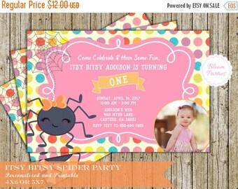 SALE LIMITED TIME Itsy Bitsy Spider Birthday Invitation for Girl 1st Birthday First Birthday Invites Digital Printable