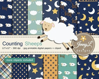 50% OFF Counting Sheep digital papers and clipart SET, Bedtime, Moon and Stars, Lamb for Digital Scrapbooking, birthday invitations Planner
