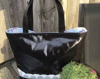 Oilcloth Tote Bag Grab Handles great for school, work or out and about, internal zip pocket, all handmade great gift for any lady.
