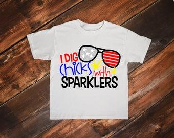Chicks With Sparklers Shirt, Fourth of July Shirt, Summer Shirt, Summer Toddler Shirt