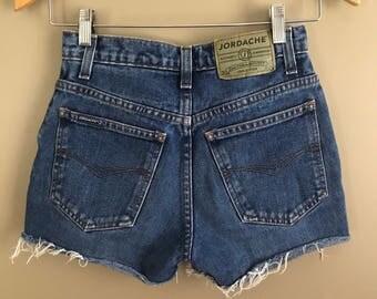 Vintage 90s Jordache Mid Rise Medium Wash Blue Jean Cut Off Shorts