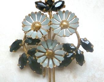 Vintage Blue Enamel And Rhinestone Flower Posy Floral Design 1940's Brooch.