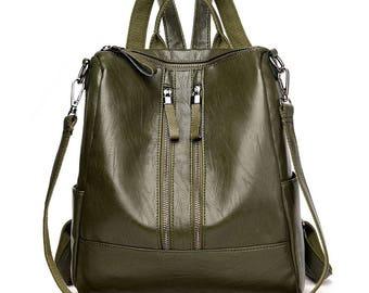 Handmade leather backpack, travel bag