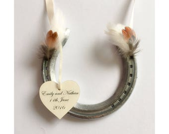 Country style wedding horseshoe, personalised, with heart shaped pheasant feathers country wedding gift, magical unusual gift