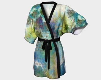 Turtle Doves Kimono Robe Bridesmaids Robe Womens Clothing Leisure Wedding Kimonos Bride Beach Wrap Printed Kimono Blue Bathrobe wearable art