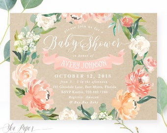 Girl Baby Shower Invitation, Baby Shower Invite Girl, Floral Baby Shower Invite, Rustic Flowers & Greenery Printed or Printable - Avery