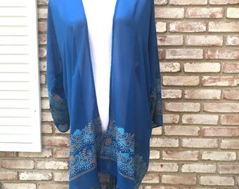 Kimono Cardigan, Teal Blue, Kimono Jacket, Gift for Her, Boho Kimono, Kimono Top, Beach Cover up, Fall Cardigan, Swimwear, Paisley