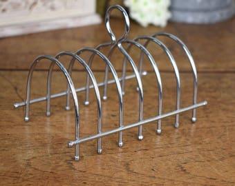 Vintage six slice wire toast rack, mid Century retro .