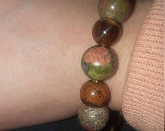 Unakite and tigers eye stretch bracelet