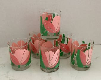 La Rue Low Ball Glasses Set of Six Vintage Pink and Green Tulip Drink Glasses, Barware, Bar Cart Decor