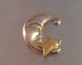 Sterling Man In the Moon Brooch, Gold Vermeil Star, Crescent Moon