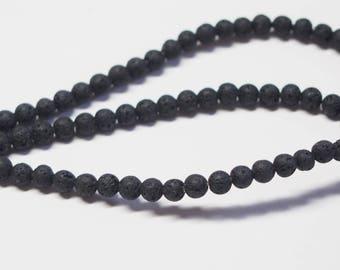 25 round 4mm black lava stone beads