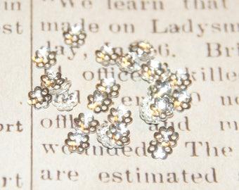 25 6mm silver metal Daisy bead caps