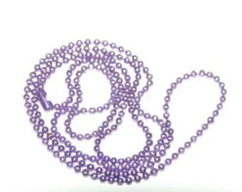 String ball 1 mm purple iridescent with clasp 45cm