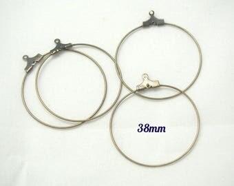 4 bronze 38mm metal hoop rings