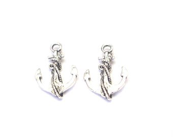 2 silver-plated 27x19mm anchor charms