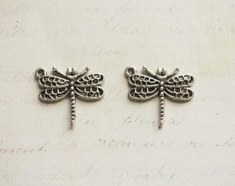 2 charms 24x21mm silver metal dragonfly