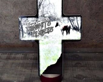 Keeping you close in thoughts and prayers CROSS with horse, Funeral Flower Arrangement Cross, Sympathy Cross