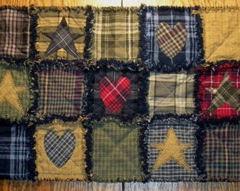 RAG QUILT Flannel Primitive Table Runner. NEW! Handmade in Oregon!