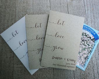 Let Love Grow Seed Packet Wedding Favors,Custom Seed Packets,Personalized Envelopes,Bridal Shower,Seed Packet
