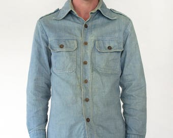 Vintage 1980s Denim Button Down Collared Shirt Military Style Robert Bruce Men's Medium