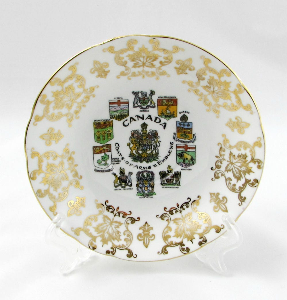 paragon tea cup and saucer trio with canada coat of arms emblems