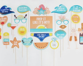 Beach Bachelorette Party Props, Beach Hens Night Props, Beach Bridal Shower Photo Booth Props Printable | INSTANT DOWNLOAD